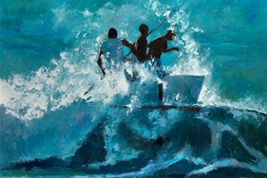 Launching a Raft into Waves, Brazil - oil on board - 77 x 110 cm - sold