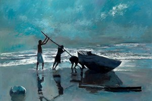 Levering a Boat, Brazil - oil on board - 77 x 110 cm - sold