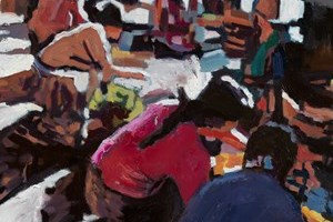 Market Scene, Burma - oil on board - 40 x 40 cm - sold