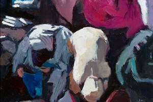 Women at the Cloth Market, Marrakech - oil on board - 50 x 35 cm - POA