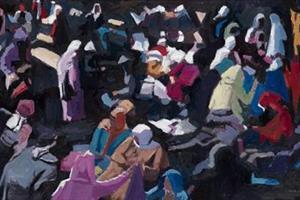 Market Scene, Morocco - oil on board - 40 x 70 cm - sold