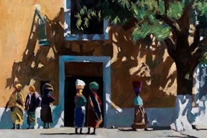 Meeting Place, Mozambique Island - oil on board - 77 x 110 cm - sold