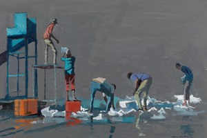 Fishermen Loading Ice, Diu, India  - Oil on Board - 35 x 50 cm - POA