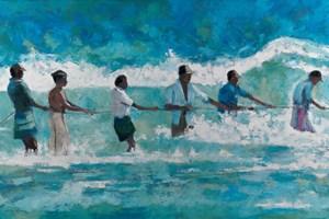 Men Pulling a Rope in Stormy Seas, Sri Lanka - oil on board - 120 x 220 - POA