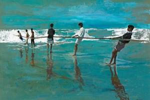 Pulling a Fishing Line, Sri Lanka - Oil on Board - 77 x 110 cm - sold