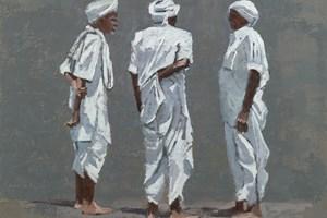 Three Men, Mumbai - Oil on Board - 50 x 50 cm - SOLD