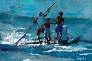 Launching a Raft into the Surf, Brazil - oil on board - 35 x 50 cm - sold