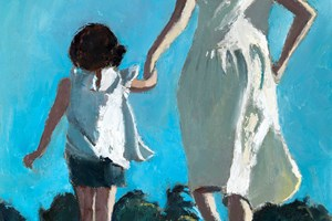 Mother and Daughter on the Beach, Brazil - oil on board - 50 x 35 cm - sold