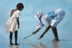 Mother and Daughter, Zanzibar - Oil on Board - 60 x 90 cm - sold