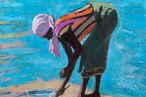 Woman Collecting Shellfish, Zanzibar - oil on board - 50 x 50 cm - sold