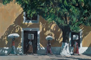 Walking in Shadows, Mozambique - acrylic on board -  77 x 110 cms - sold