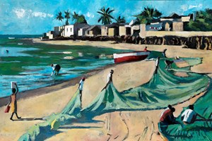 Men Working with Fishing Nets, Mozambique - oil on board - 90 x 136 cm - POA