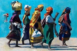 Women Walking along the Beach, Mozambique Island - oil on board - 77 x 110 cm - sold