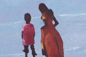 Brother and Sister on the Beach, Kerala - oil on Board - 50 x 32 cm - sold
