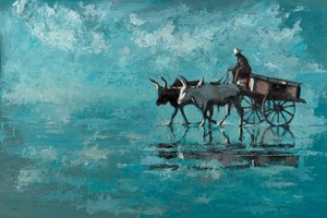 Oxen and Cart, Madagascar - Oil on Board - 77 x 110 cm - sold