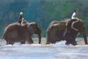 Elephants near Chiang Mai - acrylic on paper - 16 x 64 cm - sold