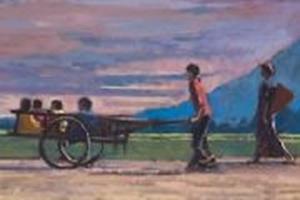 Melon-pickers, Laos - oil on canvas - 40cm x 160cm - sold