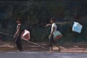 Butterfly-catchers, Cambodia - acrylic on board - 40 x 120 cm - sold