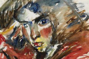 Portrait of Helen Elwes - watercolour - 33 x 46 cm - sold