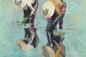 Rice-Pickers, Burma - Oil on Board - 50 x 50 cm - sold