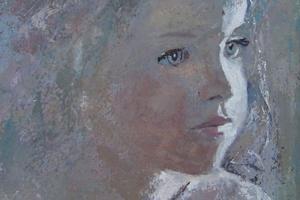 Portrait of Iris - acrylic on board - 30 x 20 cm - sold