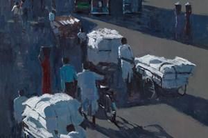 Street Scene, Jaipur - acrylic on board - 90 x 60 cms - POA