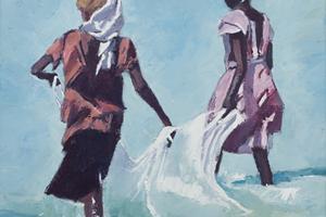 Girls with a Fishing Net, Zanzibar - oil on Board - 50 x 50 cm - Sold