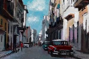 Street Scene with Red Car, Havana - oil on board - 35 x 50 cm - POA