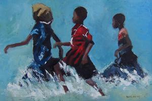 Girls Running through Waves - oil on board - 35 x 50 cm - sold