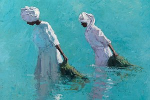 Women Wading with Seaweed, Zanzibar - Oil on Board - 56 x 80 cm - sold