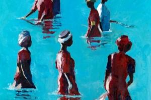 Seven Women Fishing with Nets, Zanzibar - oil on board - 50 x 50 cm - sold