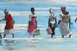 Women on the Beach, Zanzibar - oil on board - 40 x 80 cm - sold