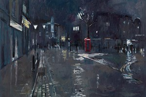 Street Scene with Phone Box, London  - Oil on Board - 56 x 80 cm - SOLD