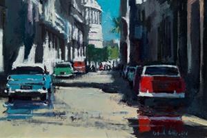 Street Scene with Parked Cars, Havana - oil on board - 50 x 35 - sold