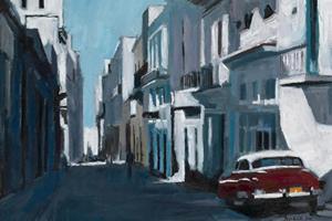 Street Scene with Red Car, Havana, Cuba - oil on board - 35 x 50 cm - sold