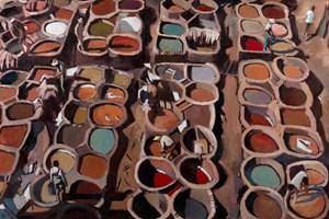 Tanneries, Fez - oil on board - 110 x 180 cm - POA