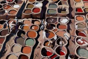 Tanneries Scene, Fez - oil on board - 35 x 50 cm - POA
