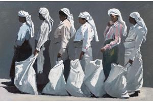 6 Tea-Pluckers, Sri Lanka - Oil on Board - 50 x 70 cm - sold