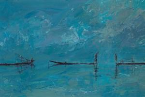 Three Fishermen in Boats, Burma - acrylic on board -  30 x 60 cms - sold