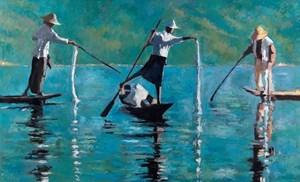 3 Fishermen, Inle Lake, Burma - oil on board - 110 x 180 cm - sold