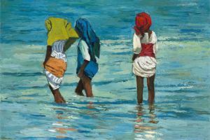 Girls at the Beach, Zanzibar- oil on board - 50 x 75 cm - sold