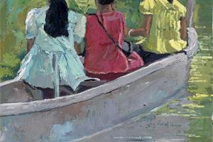 3 Girls in a Boat, Kerala - oil on board - 55 x 35 cm -sold