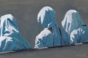 Girls on a Bench, Barra, Gambia - acrylic on board - 30 x 60 cms - sold