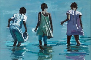 Children Collecting Shellfish, Mozambique - Oil on Board - 35 x 50 cm - sold