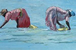 3 Women, Zanzibar - oil on board - 35 x 80 cm - sold