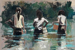 Girls with Fishing Nets, Cambodia - oil on board - 35 x 50 cm - POA