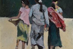 3 Girls, Burma - oil on board - 40 x 40 cm - POA