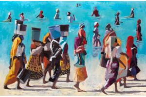 Busy Beach Scene, Zanzibar - oil on board - 91 x 136 cm - sold
