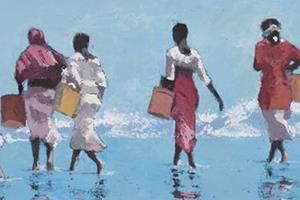 Women on the Beach, Zanzibar - Oil on Board - 30 x 80 cm - sold