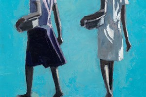 Children Carrying Bowls, Mozambique - oil on board - 50 x 35 cm - sold